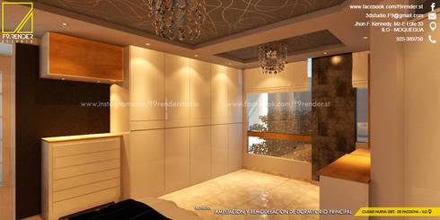 Vista desde un lado de la cama hacia el patio trasero _ Contacto 925399750: Dormitorios de estilo  por F9 studio Arquitectos