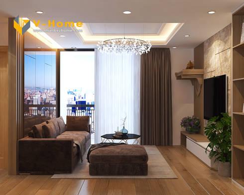 Thiết kế nội thất chung cư Mardarin garden 2, Hoà Phát – Chị An:  Phòng khách by Công ty CP Kiến trúc V-Home