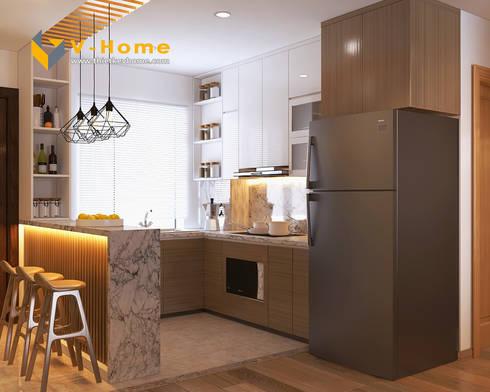 Thiết kế nội thất chung cư Mardarin garden 2, Hoà Phát – Chị An:  Tủ bếp by Công ty CP Kiến trúc V-Home