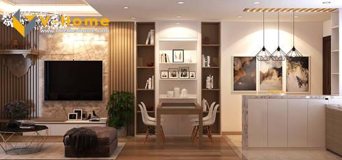 Thiết kế nội thất chung cư Mardarin garden 2, Hoà Phát – Chị An:  Phòng ăn by Công ty CP Kiến trúc V-Home