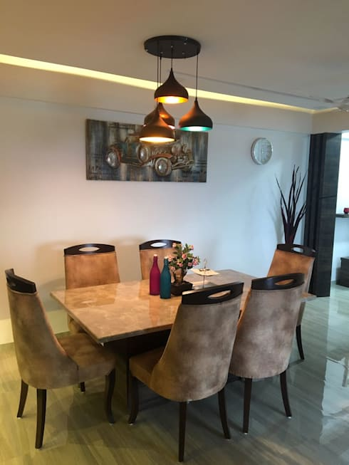 Dining table:  Dining room by Vinayak Interior | Interior Designing and Decorator Companies