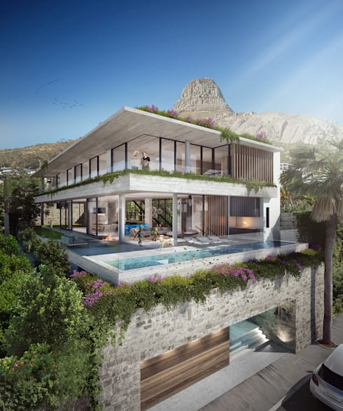 Exterior View 01:  Infinity pool by Kunst Architecture & Interiors