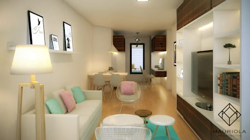 Diseño Interior Sala Comedor: Salas / recibidores de estilo moderno por Mauriola Arquitectos