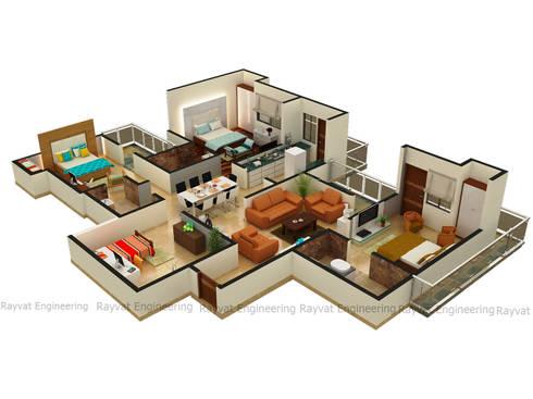 3D Floor Plan Rendering Services:   by Rayvat Rendering Studio