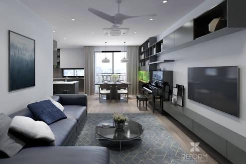 Living room:  Phòng khách by Reform Architects