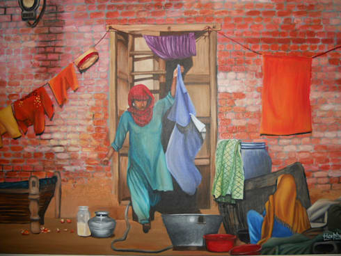 Our Daily chores:  Artwork by Indian Art Ideas