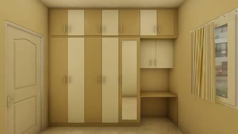 SHOBA DREAM ACRES - BANGALORE: mediterranean Bedroom by Vsquare Interiordesigns Pvt Ltd