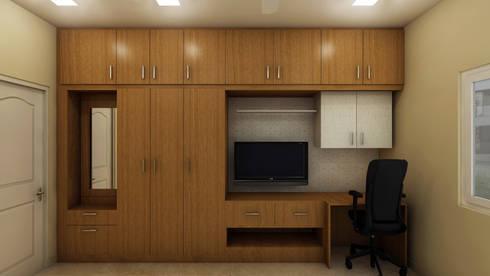 SHOBA DREAM ACRES—BANGALORE: classic Bedroom by Vsquare Interiordesigns Pvt Ltd