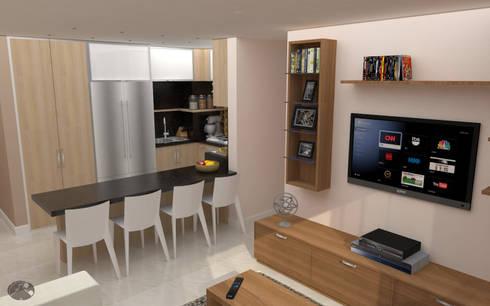 Apartamento AF1: Cocinas de estilo moderno por TRIBU ESTUDIO CREATIVO