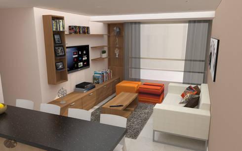 Apartamento AF1: Salas / recibidores de estilo moderno por TRIBU ESTUDIO CREATIVO