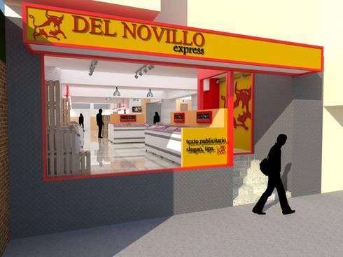Frigorífico del Novillo Express: Espacios comerciales de estilo  por TRIBU ESTUDIO CREATIVO