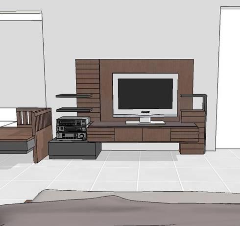 interior Home Jl. Taman Borobudur Malang 2012:  Living room by  the OWL