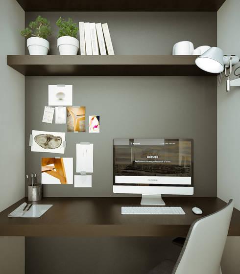 interior design per studio e soggiorno di rendertorino | homify - Zona Studio In Soggiorno