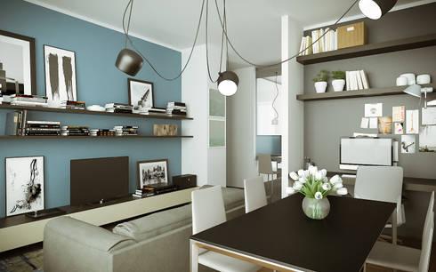 Interior design per studio e soggiorno di rendertorino for Soggiorno studio malta