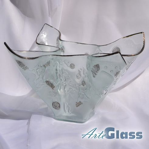 Vase clear with metal and oldplatinum 25 cm: modern Living room by ArteGlass