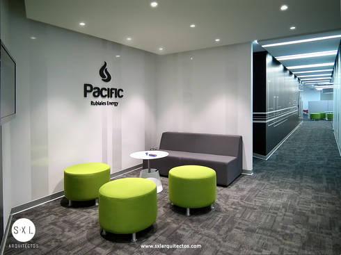 Oficinas Pacific Rubiales Energy: Oficinas de estilo moderno por SXL ARQUITECTOS