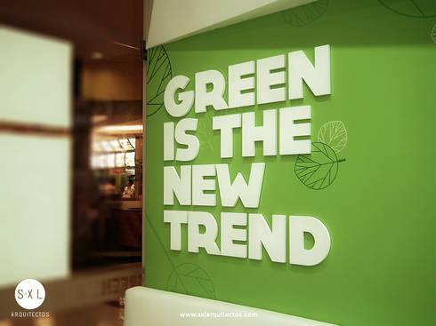 Green Station: Restaurantes de estilo  por SXL ARQUITECTOS