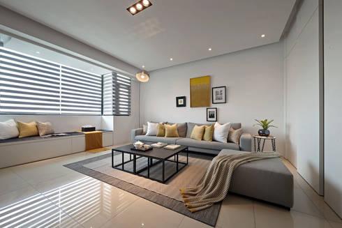 最簡單的黑白,卻藏著最精彩的語彙:  客廳 by 奇承威設計事業