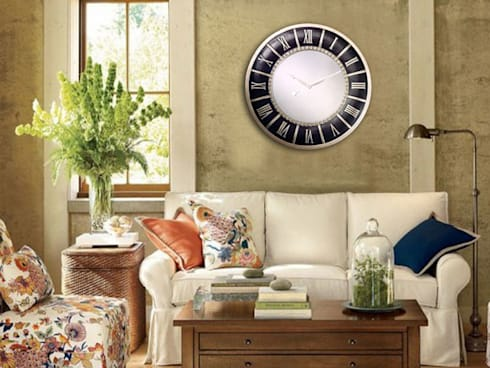 Kairos PU Mirror Wall Clock Embossed: modern Living room by Just For Clocks