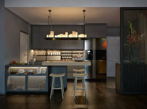 Masteri Thao Dien Apt.:  Nhà bếp by BROS.studio