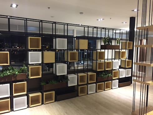 Mueble cubos: Salones de estilo  por Bustos + Quintero arquitectos