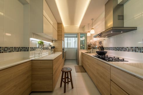 Design & Build: New HDB @ Sumang Link (Eclectic): eclectic Kitchen by erstudio Pte Ltd