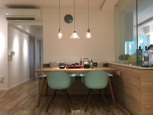 Design & Build: New HDB @ Sumang Link (Eclectic): eclectic Dining room by erstudio Pte Ltd