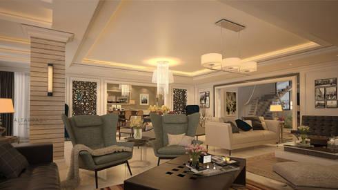 Villa living area: modern Living room by AL-TRASS CREATIONS DESIGN
