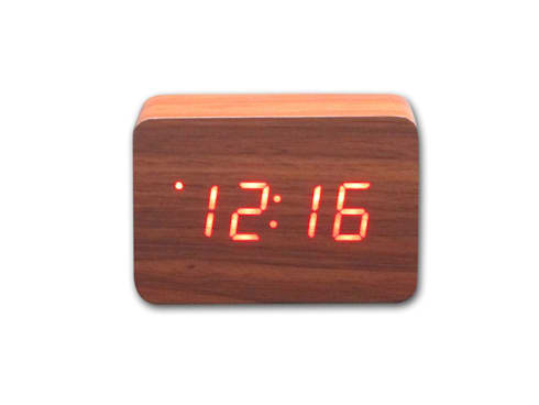 Kairos Wood LED Rectangle Alarm Clock:  Office spaces & stores  by Just For Clocks