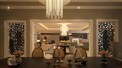 Villa living area: modern Dining room by AL-TRASS CREATIONS DESIGN