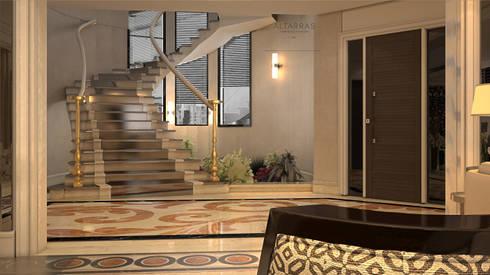 Villa living area: modern Corridor, hallway & stairs by AL-TRASS CREATIONS DESIGN