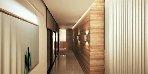 R.S. Residence Interior:  Corridor & hallway by Uraiqat Architects