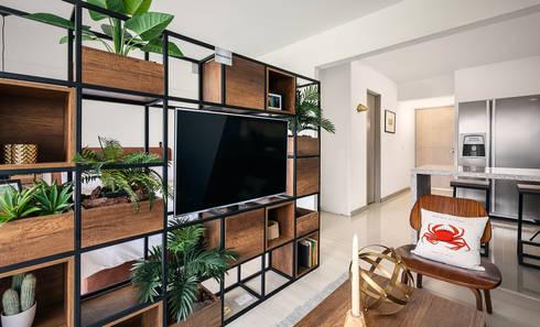 División espacio: Salas de estilo moderno por Maria Mentira Studio