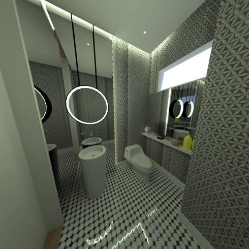 Baño social: Baños de estilo industrial por D Interior