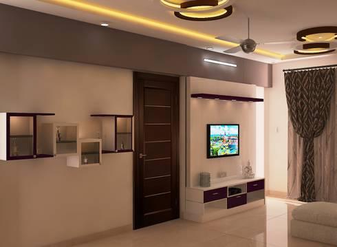 Ahad Euphoria, 2 BHK - Mr. Krishna: modern Living room by DECOR DREAMS