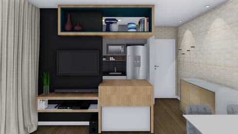 Sala/Cozinha: Salas de estar modernas por TR Interiores