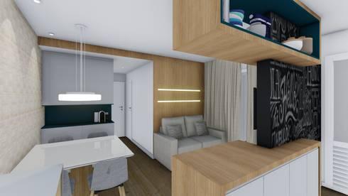 Sala de Estar/Jantar: Salas de estar modernas por TR Interiores