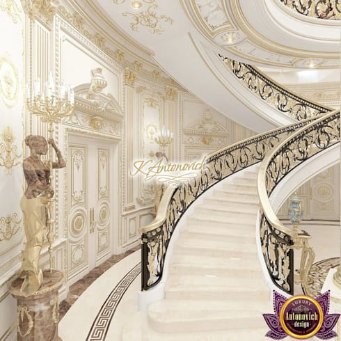 ​The luxury of the new millennium from Katrina Antonovich:  Corridor & hallway by Luxury Antonovich Design