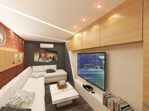 ملحق شبابي في مسكن بالسعودية :  غرفة المعيشة تنفيذ Quattro designs