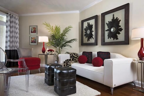A Classic Leather White Living Room: classic Living room by Spacio Collections