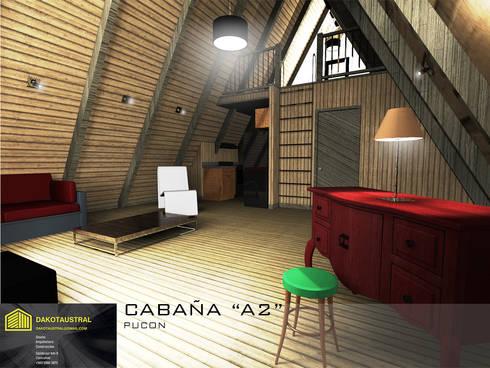 """CASA """"A2"""" INTERIOR: Casas de madera de estilo  por Dakota Austral"""