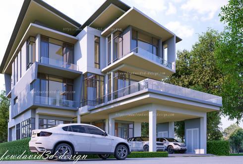 Modern three storey house in Phnom Penh Cambodia .Mr.Samnang:   by fewdavid3d-design