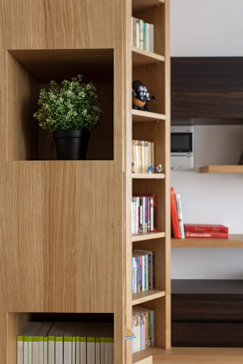 雙面收納櫃設計:  客廳 by 禾光室內裝修設計 ─ Her Guang Design