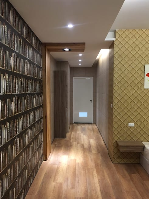 山坡地私人會館更改建造設計裝潢:  走廊 & 玄關 by 登品空間規劃工程有限公司