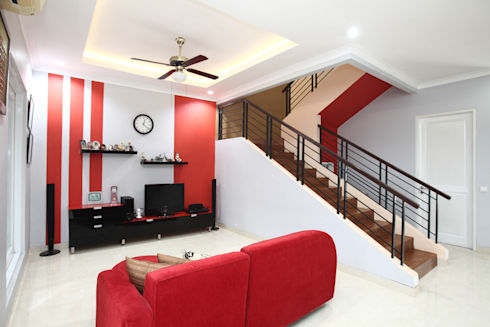 Colourful house : modern Living room by a+Plan Architect and Interior Works