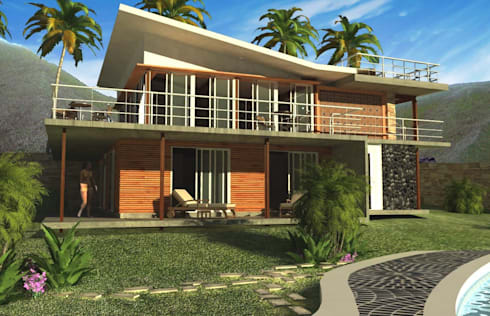 CASA DE PLAYA: Casas de madera de estilo  por Proyectonica
