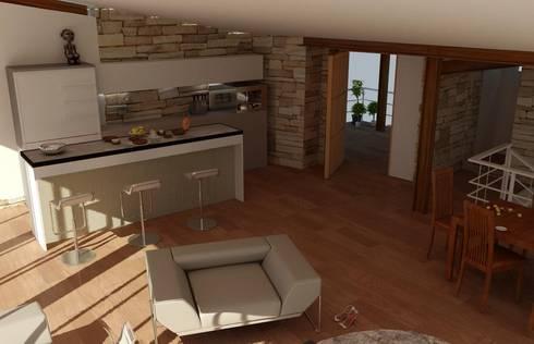 CASA DE PLAYA: Muebles de cocinas de estilo  por Proyectonica