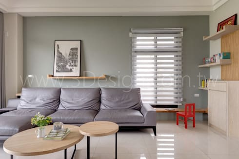 客廳-兒童閱讀角:  客廳 by Hi+Design/Interior.Architecture. 寰邑空間設計
