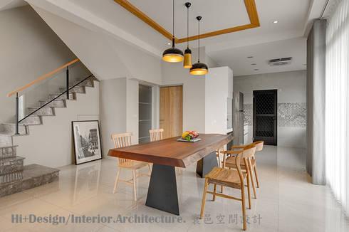 餐廳:  餐廳 by Hi+Design/Interior.Architecture. 寰邑空間設計