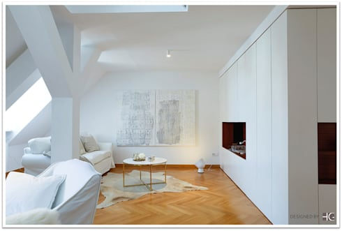 Münchner Home Staging Agentur GESCHKA: Minimal Tarz Tarz Oturma Odası